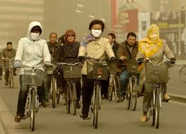 china pollution bike riders
