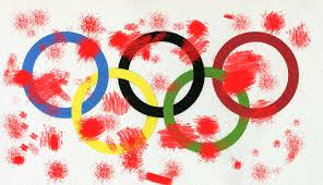 Olympic rings and blood splatters, protesting China's Human Rights record