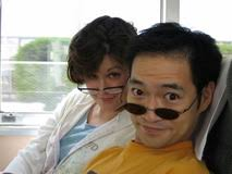 Tomoyuki Hoshino and Adrienne Hurley on a train in Japan in 2006 - 2008102516545714_1