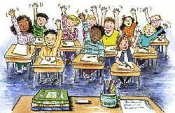 Classrom Picture with Students Waiving Their Hands