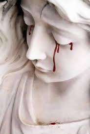 Estatua, tristeza, abatimiento, preocupación, lágrimas de sangre