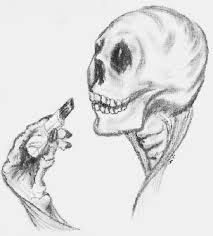 skull putting on lipstick