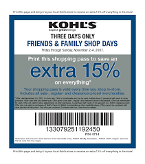 15% off Printable Kohls Coupon