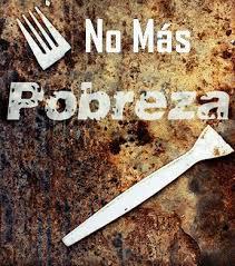Imagen en la que pone No más pobreza resaltando un tenedor roto