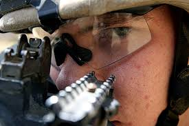 Real soldier using iron sights