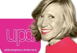Rosa Díez y el logotipo de UPyD