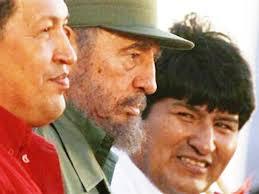 Evo Morales junto a Fidel Catro y Hugo Chávez