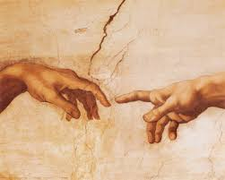 Detail, the creation of Adam, Michelangelo